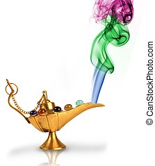 Aladdins magic lamp with pearls and colorful smoke isolated...