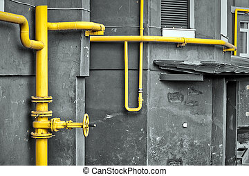 Yellow gas pipe at the residential house