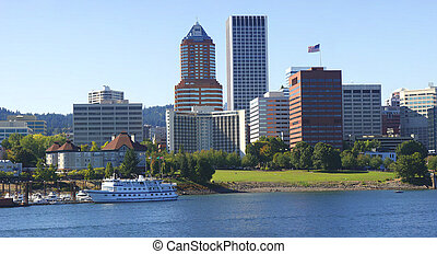 Portland Oregon skyline. - A panorama of the downtown...