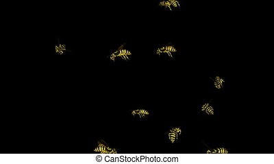 Looping Wasp Swarm Animation 1