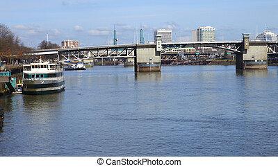 The Willamette river scene.