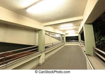 footbridge at night in Hong Kong
