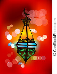 Intricate arabic lamp with beautiful lights in the background