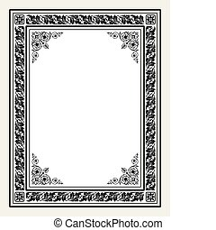 Vector antique ornate frame - Vintage frame with ornaments,...