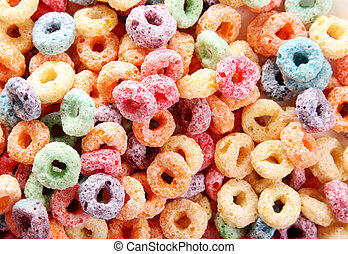 Cereal fruit texture - Orange, yellow, blue, and green fruit...