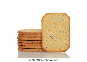 multigrain crackers with white background
