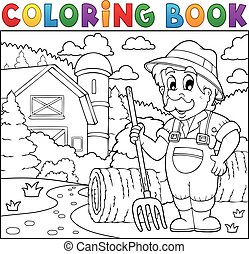 Coloring book farmer near farmhouse 2 - Coloring book farmer...