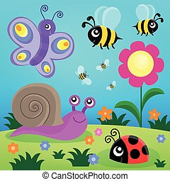 Spring animals and insect theme image 1