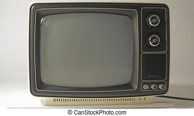 Black and White TV - Retro TV turn on and off with poor...