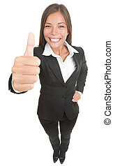 Woman giving thumbs up to the camera, that is above in high...