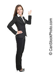 Businesswoman showing copy space - Businesswoman showing /...