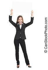 Business woman excited holding white sign - Businesswoman...