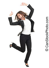ecstatic businesswoman in suit dancing - Ecstatic...