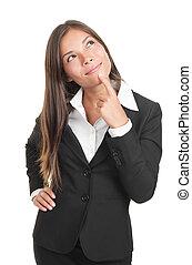 pensando, negócio, mulher