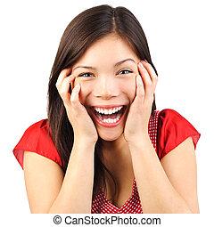 Happy cute woman surprised