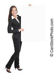 Businesswoman holding empty billboard sign - Businesswoman...