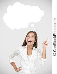 Thinking woman having an idea
