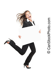 Funny businesswoman running with billboard sign