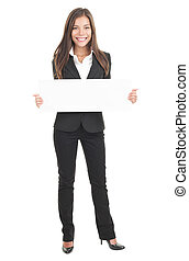 Businesswoman holding white sign poster - Businesswoman...