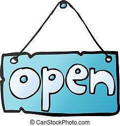 cartoon open shop sign