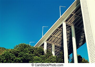 Abstract view of a bridge on blue sky