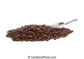 Coffee beans with silver scoop on white