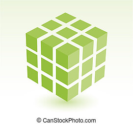 block of light green cube with drop shadow