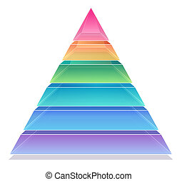 3D Pyramid Chart 6 sections,red, orange,green,blue,purple