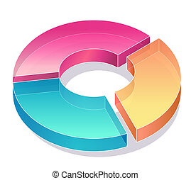 business pie chart - color pie chart in the white background