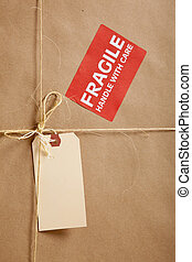 Cardboard box background with shipping label