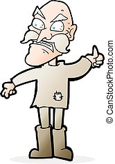 cartoon angry old man in patched clothing