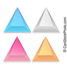 Triangular icons button, triangular icons - four color...