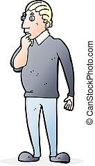 catoon curious man - cartoon curious man