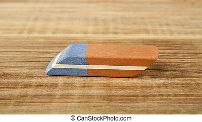 eraser on a wooden table