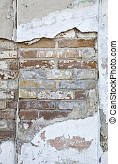 mur, brique, vieux,  structure