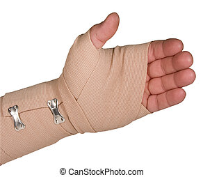 ace bandage on left hand with path isolated - left hand...