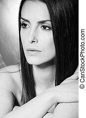 beauty woman portrait bw