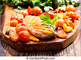 fried chicken breast with vegetables