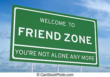Welcome to Friend Zone on road billboard