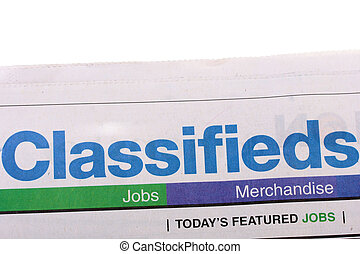 Classifieds newspaper - Word Classifieds as heading heading...