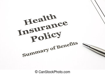 Health Insurance Policy with Pen - A health insurance policy...