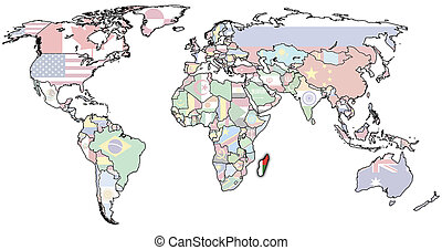 madagascar on world map - old political map of world with...