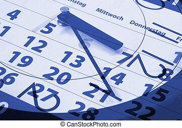 time concept with modern watch an calendar