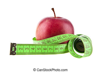 apple and meter is isolated on a white background