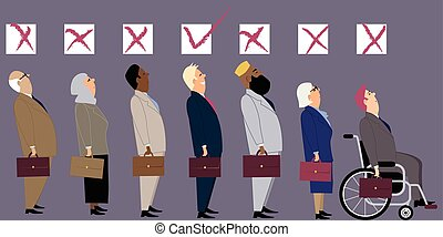 Discrimination at job interview - Line of diverse candidates...