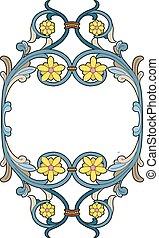 Medallion with stylized flowers - Vector illustration of a...