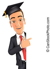 3d businessman with mortarboard pointing to right blank...