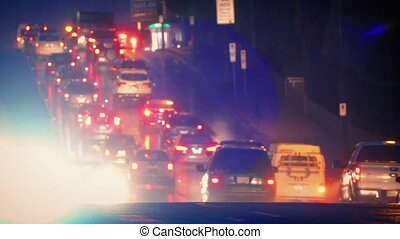 Dramatic Scene Of Traffic In Rain - Evening scene of cars...