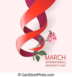 Ribbon March 8 greeting card - Happy Womens Day Paper Design...