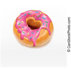 Vector one donut glazed with pink caramel sprinkles element...